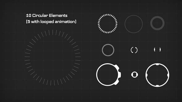 10 Circular Elements (5 with looped animation)